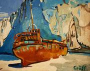 """NICHT MEHR ERHÄLTLICH, """"Gestrandetes Schmugglerschiff auf Zakynthos"""", Öl auf Leinwand, 40x50 cm, 2015"""