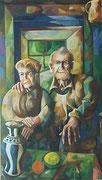 Interieur mit meinen Großeltern (Rudolf und Leopoldine Gräff), 140x80 cm, 2004