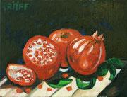 """""""Rote Granatäpfel vor schwarzem Hintergrund"""", Öl auf Leinwand, 30x40 cm, 2017;  F. N. 13 - (2017: 13)"""
