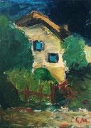 """""""Garten und Nachbarhaus"""", Öl auf Leinwand, 75x55 cm, Sommer 1998 (1. bekanntes Ölbild als Jugendlicher)"""