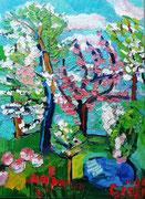 NICHT MEHR ERHÄLTLICH   Apfelblüte, Öl auf Leinwand, 80x60 cm, ca 2011