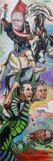 """Diptychon """"Allegorie auf Alexander van der Bellen und Norbert Hofer bei der Bundespräsidentenwahl"""", Öl auf Leinwand, 120x80 / 120x80 cm"""