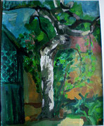 Birke, Naturstudie, Acryl auf Karton, 2004