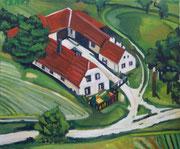 """""""Bäuerliches Anwesen Heichinger in Sankt Leonhard am Hornerwald"""", Öl auf Leinwand, 50x60 cm, 2017;  F. N. 14 - (2017: 14)"""