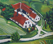 """NICHT MEHR ERHÄLTLICH,  """"Bäuerliches Anwesen Heichinger in Sankt Leonhard am Hornerwald"""", Öl auf Leinwand, 50x60 cm, 2017;  F. N. 14 - (2017: 14)"""