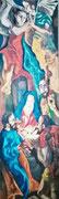 """Paraphrase auf El Creco: """"Anbetung der Hirten"""", etwa 190x70 cm (?), 2004 (?)  (Foto unten abgeschnitten, aber höhere Auflösung)"""