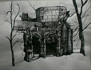 Chateau de Gremolles, Burgund, Tuschezeichnung