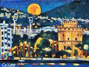 """Thessaloniki bei Nacht"", Öl auf Leinwand, 30x40 cm, 2016"