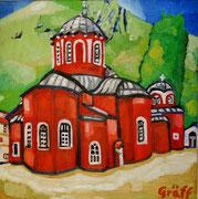 """""""Kloster Megisti Lavra"""", Öl auf Leinwand, 50x50 cm, 2015"""