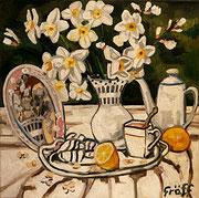 Weißes Stillleben mit Narzissen, Öl auf Leinwand, 50x50 cm, 2015