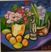 NICHT MEHR ERHÄLTLICH, Blumen- und Früchtestillleben mit Marienstatue, 60x60 cm, 2012