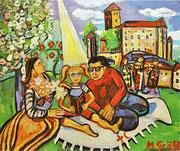 NICHT MEHR ERHÄLTLICH, Kinderburg Rappottenstein, 100x120 cm, 2012. Dieses Gemälde wurde für die Etikette des niederösterreichischen Rot Kreuz Wein geschaffen. Präsentation am Weltrotkreuztag. Erlös für die Kinderburg Rappottenstein