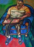 """ÜBERMALT  """"Studie eines Sitzenden (Lesender Vater)"""", Öl auf Leinwand, 150x110 cm, 2009"""