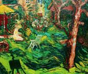 NICHT MEHR ERHÄLTLICH, Im Garten des Künstlers, 75x90 cm, 2006