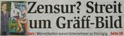 Matthias Laurenz Gräff. Pressebericht auf der Titelseite der NÖN Horn (Woche 18), Copyright by Rupert Kornell