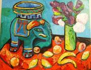 Stillleben mit chinesischem Tonelephant und Flieder, 80x100 cm, 2010