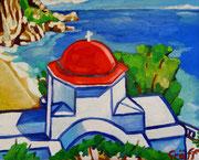 """NICHT MEHR ERHÄLTLICH   """"Dodekanische Kirche (Kirche und Bucht von Kyra Panagia)"""" , Öl auf Leinwand, 40x50 cm, 2015"""