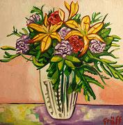 """""""Frühlingsblumenstrauß mit Lilien und Nelken"""", Öl auf Leinwand, 70x70 cm, 2015"""