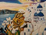 """""""Blühendes Lilienfeld vor dem Sonnenuntergang auf Santorin"""", Öl auf Leinwand, 60x80 cm, 2019;  F. N. 84 - (2019: 10)"""
