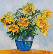 """""""Sonnenblumen in später Blüte"""", Öl auf Leinwand, 50x50 cm, 2017;  F. N. 37 - (2017: 37)"""