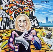 """""""Riot, Rock City (Allegorie auf H. C. Strache und das gleichnamige Musikalbum)"""", Öl auf Leinwand, 70x70 cm, 2016"""