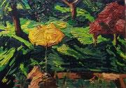 NICHT MEHR ERHÄLTLICH   Blick in den Garten hinab, Öl auf Hartfaserplatte, 45x65 cm, 2005