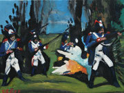 """""""Französische Infanterie beim Angriff auf Smolensk"""", Öl auf Leinwand, 30x40 cm, 2020;  F. N. 125 - (2020: 22)"""