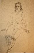 Frontalakt, Bleistiftzeichnung, 90x62 cm