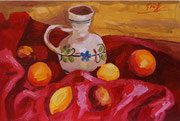 Stillleben mit Vase und Zitronen auf rotem Tuch, 40x60 cm, 2005