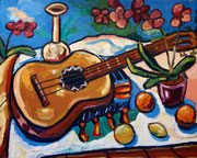 NICHT MEHR ERHÄLTLICH, Gitarrenstillleben mit Orchideen und Früchten, 80x100 cm, 2009
