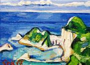 """Klippen bei Korfu"", 18x24 cm, 2014"