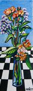 """NICHT MEHR ERHÄLTLICH   """"Klassisches Blumenstück"""", Öl auf Leinwand, 80x30 cm, 2018;  F. N. 73 - (2018: 23)"""
