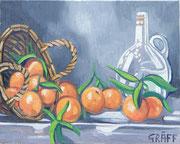 """""""Orangenstillleben mit Krug"""", Öl auf Leinwand, 40x50 cm, 2017;  F. N. 9 - (2017: 9)"""