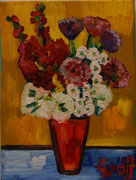 NICHT MEHR ERHÄLTLICH, Kleiner Blumenstrauß mit Gladiolen und Gerbera, 40x30 cm, 2012