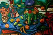 Stillleben mit Tonelephant, Harlekin und Früchten, 90x130 cm, 2009