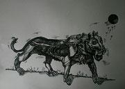Der Löwe, Tuschezeichnung