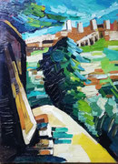 NICHT MEHR ERHÄLTLICH   Italien (San Gimignano?), Öl auf Leinwand, 80x60 cm, 2005 (?)