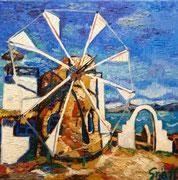 """""""Windmühle auf Santorin"""", 50x50 cm, 2014"""