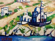 """""""Gialos - Kirche auf Ios"""", 30x40 cm, 2014"""