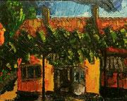 """""""Omas Weinrebe"""", (Wasservermischbare Ölfarben), 55x70 cm, 12. Juli 2002"""
