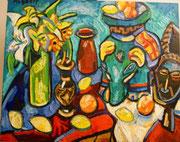 NICHT MEHR ERHÄLTLICH, Stillleben mit Tonelephant, Blumen, schwarzafrikanischer Maske und Früchten, 80x100cm, 2010