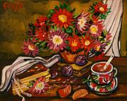 NICHT MEHR ERHÄLTLICH, Stimmungsvolles Stillleben mit Chrysanthemen, Öl auf Leinwand, 40x50 cm, 2015