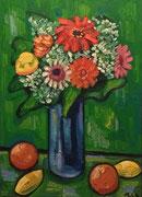 NICHT MEHR ERHÄLTLICH, Blumenstrauß mit Gerbera auf einem Tisch mit Obst, 70x50 cm, 2011