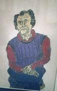 VERSCHOLLEN, Bildnis des Großvaters Rudolf, Ölkreiden auf Papier, 2000