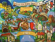 NICHT MEHR ERHÄLTLICH, Partnerschaftsbild Gars am Kamp - Gars am Inn, 130x170 cm, 2013. Dieses Gemälde wurde für die bayrische Gemeinde Gars am Inn anlässlich der Städtepartnerschaft mit Gars am Kamp geschaffen.