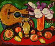 Gitarrenstillleben mit Flieder, 75x90 cm, 2009