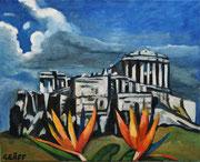 """""""Blühende Akropolis"""", Öl auf Leinwand, 40x50 cm, 2020;  F. N. 108 - (2020: 5)"""