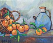 """""""Orangenstillleben"""", Öl auf Leinwand, 40x50 cm, 2017;  F. N. 19 - (2017: 19)"""