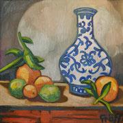 """""""Stillleben mit Früchten und Porzellanvase"""", Öl auf Leinwand, 40x40 cm, 2017;  F. N. 17 - (2017: 17)"""