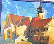 """NICHT MEHR ERHÄLTLICH, """"Ansicht Stift Geras"""", Acryl auf Hartfaserplatte, 2004"""